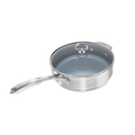 Chantal Induction 21 Ceramic Coated Steel 3 Quart Saute Skillet with Glass Lid