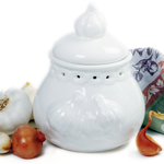 Norpro White Stoneware Deluxe Garlic Keeper