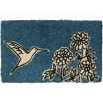 Entryways Flower and Hummingbird Hand Woven Coir Animal Doormat, 18 x 30 Inch