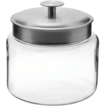 Anchor Hocking Mini Montana Jar with Handled Brushed Aluminum Lid, 64 Ounce