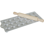 Risoli Aluminum Round Ravioli Maker with Rolling Pin, 24 Cup