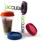 GoClear 10 Ounce Double Walled Glass Combo Tumbler with Assorted Color Silicone Lid, Set of 2
