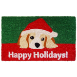 Entryways Dog Lovers Holiday Hand Woven Coir Doormat, 18 x 30 Inch