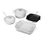 Le Creuset Signature White Enameled Cast Iron 6 Piece Cookware Set