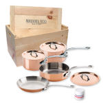 Mauviel M150S Copper and Stainless Steel 7 Piece Cookware Set with Crate