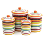 Omniware Rio Multi-Stripe Ceramic 4 Piece Canister Set