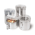 Oggi Stainless Steel 4 Peice Airtight Canister Set