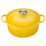 Le Creuset Quatrefoil Signature Soleil Enameled Cast Iron 4.5 Quart Round Dutch Oven