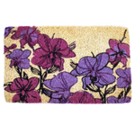 Entryways Hand Drawn Orchids Hand-Woven Coir Welcome Mat