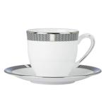 Lenox Silver Sophisticate 2 Piece Demitasse Cup & Saucer Set