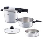 Fissler Vitaquick Large 6 Piece 8.5 Quart and 4.2 Quart Premium Pressure Cooker Set