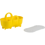 Trudeau Yellow Silicone Double Egg Poacher with Lid