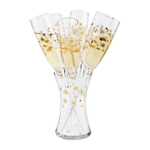 Artland Gold Stars Glass 7 Piece 8 Ounce Baseless Toasting Flute Set