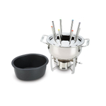 All-Clad Oval Stainless Steel Fondue Pot with Nonstick Insert and 8 Forks