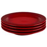 Le Creuset Cerise Stoneware 8.5 Inch Salad Plate, Set of 4