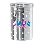 Oggi Stainless Steel Meow 62 Ounce Treat Jar