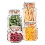 Oggi Glass 4 Piece Dry Food Canister Set
