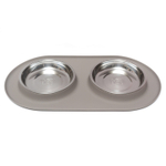 Messy Cats Warm Grey Silicone Double Feeder with Stainless Steel Bowls