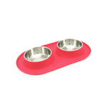 Messy Mutts Watermelon Silicone Medium Double Feeder with Stainless Steel Bowls
