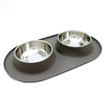 Messy Mutts Warm Gray Silicone Large Double Feeder with Stainless Steel Bowls