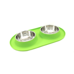 Messy Cats Green Silicone Double Feeder with Stainless Steel Bowls