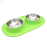 Messy Mutts Green Silicone Large Double Feeder with Stainless Steel Bowls