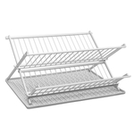 Ta Da Light Gray Aluminum Folding Dish Rack with Silicone DrySmart Mat
