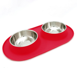 Messy Mutts Watermelon Silicone Large Double Feeder with Stainless Steel Bowls