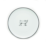 Omniware White Porcelain Salad Plate with Pig Design, Set of 4