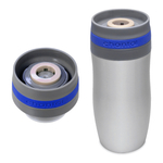 Chantal Single Serve Easy Stainless Steel Vacuum Insulated 10 Ounce Travel Mug with Cobalt Blue Silicone Band