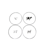Omniware White Porcelain Salad Plate with Assorted Farm Animal Design, Set of 4