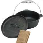 Old Mountain Pre-Seasoned Cast Iron 2 Quart Camp Oven with Flanged Lid