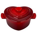 Le Creuset Cerise Stoneware Heritage Petite Heart Cocotte with Lid
