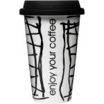 Sagaform Take Away Coffee Porcelain Double-Walled Mug with Silicone Lid, 8.5 Ounce