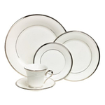 Lenox Solitaire White Bone China 5 Piece Dinnerware Set, Service for 1