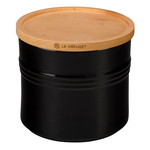 Le Creuset Black Stoneware 1.5 Quart Canister with Wooden Lid