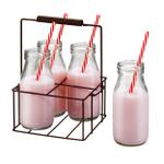 Artland Gingham 9 Piece Milk Bottle Set with Caddy