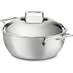 All-Clad Brushed Stainless Steel D5 Dutch Oven, 5.5 Quart
