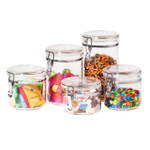 OGGI Acrylic 5 Piece Canister Set with Airtight Clamp Lids