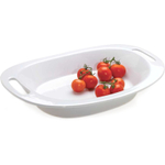 Essentials 2 Piece White Ceramic Serving Bowl and Platter Set, Service for 1