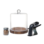 Fortessa Crafthouse Classic Collection Glass & Walnut Cloche with Smoker and Chips