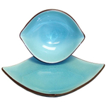 4 Piece Crackled Porcelain Turquoise Asian Bowl and Plate Set, Service for 2