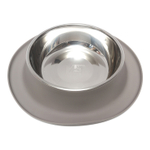 Messy Mutts Grey Silicone Extra Large Single Feeder with Stainless Steel Bowl