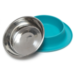 Messy Mutts Blue Silicone Extra Large Single Feeder with Stainless Steel Bowl