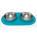 Messy Mutts Blue Silicone Extra Large Double Feeder with Stainless Steel Bowl