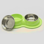 Totally Pooched Green Medium Double Diner with Stainless Steel Bowls