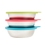 Messy Mutts Box Set with 3 Large Stainless Steel Bowls & 3 Multicoloed Silicone Lids