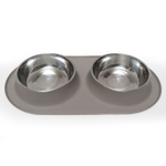 Messy Mutts Grey Silicone Extra Large Double Feeder with Stainless Steel Bowls
