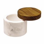 Anolon White Marble Round 5.25 Ounce Salt Cellar with Teak Lid