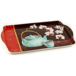 Melamine Serving Tray with Asian Bamboo and Orchid Printed Design, 15 x 9.5 Inch